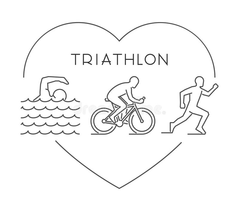 Miłości triathlon symbol Wektor oblicza triathletes royalty ilustracja
