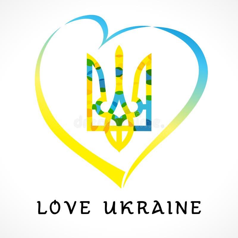 Miłości Ukraina emblemat barwiący royalty ilustracja