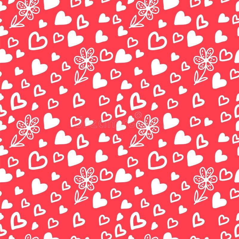 Miłość Bezszwowy wzór z sercami i kwiatami ilustracja wektor