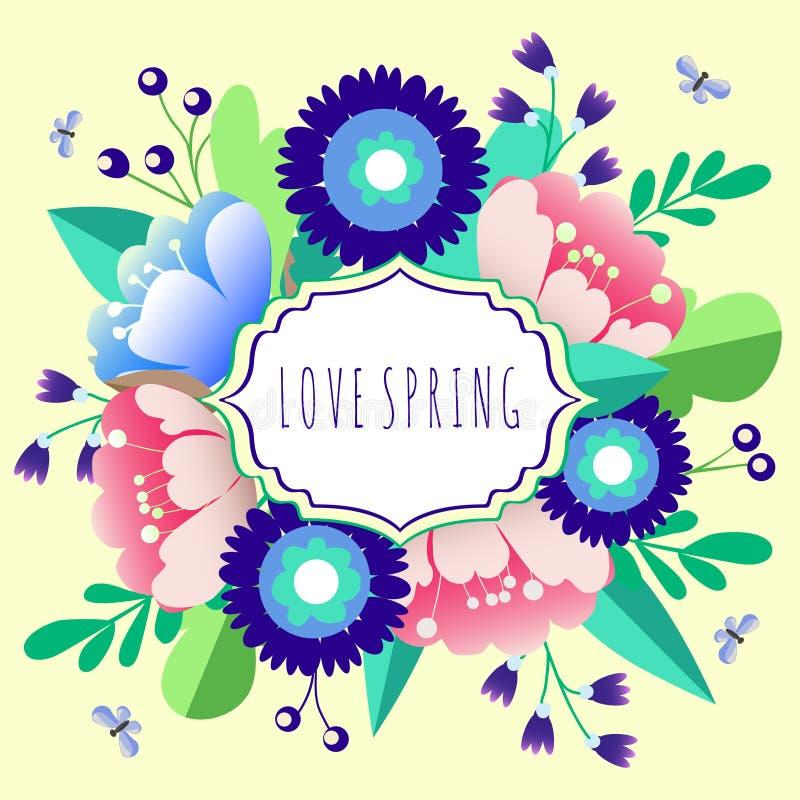 MIŁOŚCI wiosna kwiatu wektor ilustracji