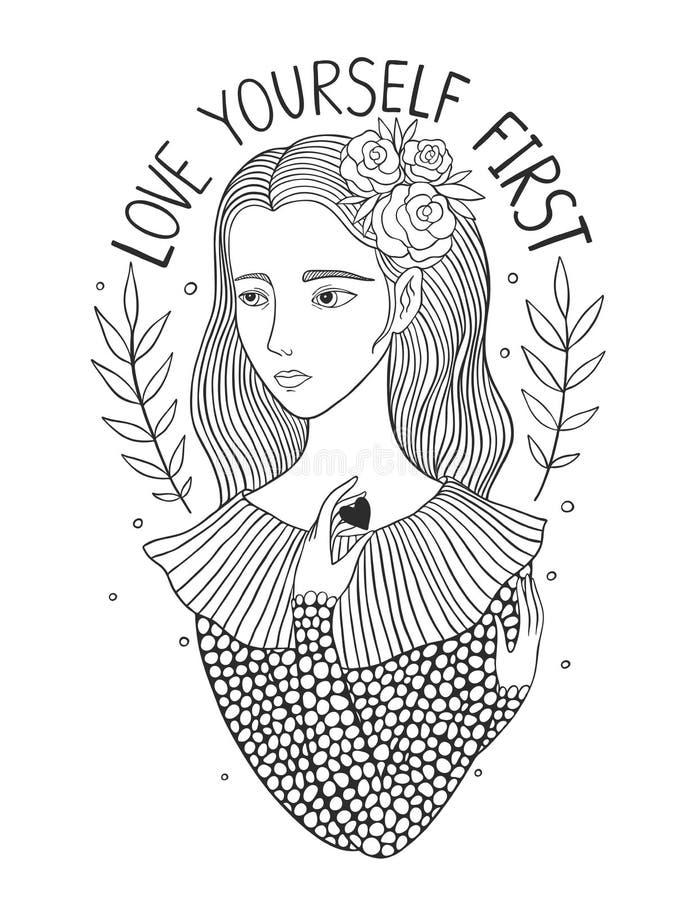 Miłości yourself pierwszy ilustracja wektor