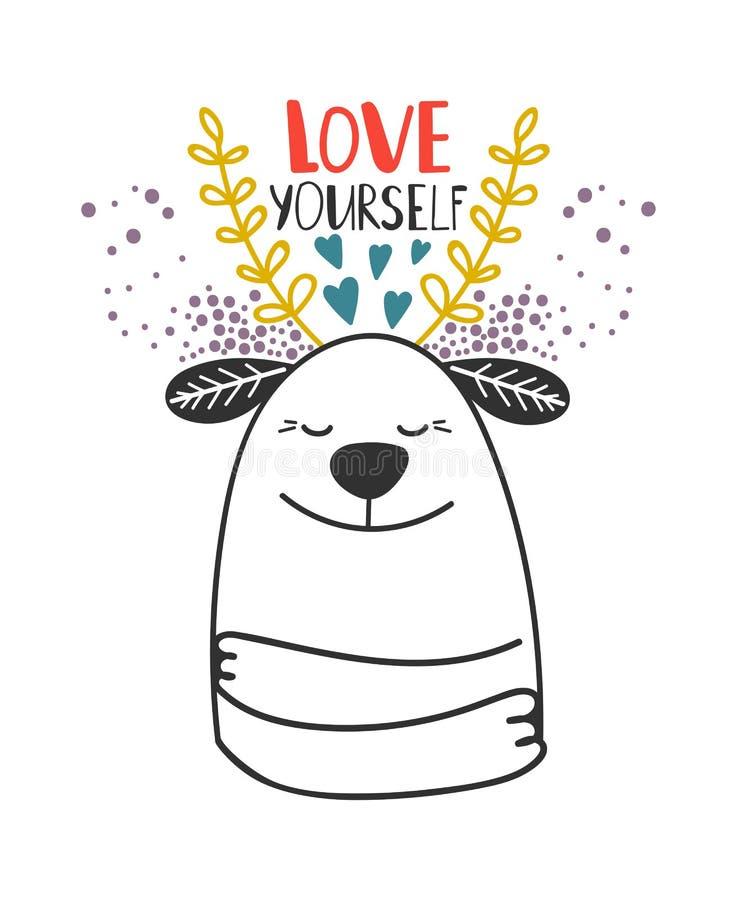 Miłości yourself psi karciany szablon royalty ilustracja