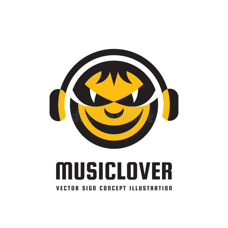 Miłośnik muzyki - wektorowa loga pojęcia ilustracja w mieszkanie stylu projekcie Audio mp3 znak Nowożytna rozsądna ikona Dj symbo ilustracji