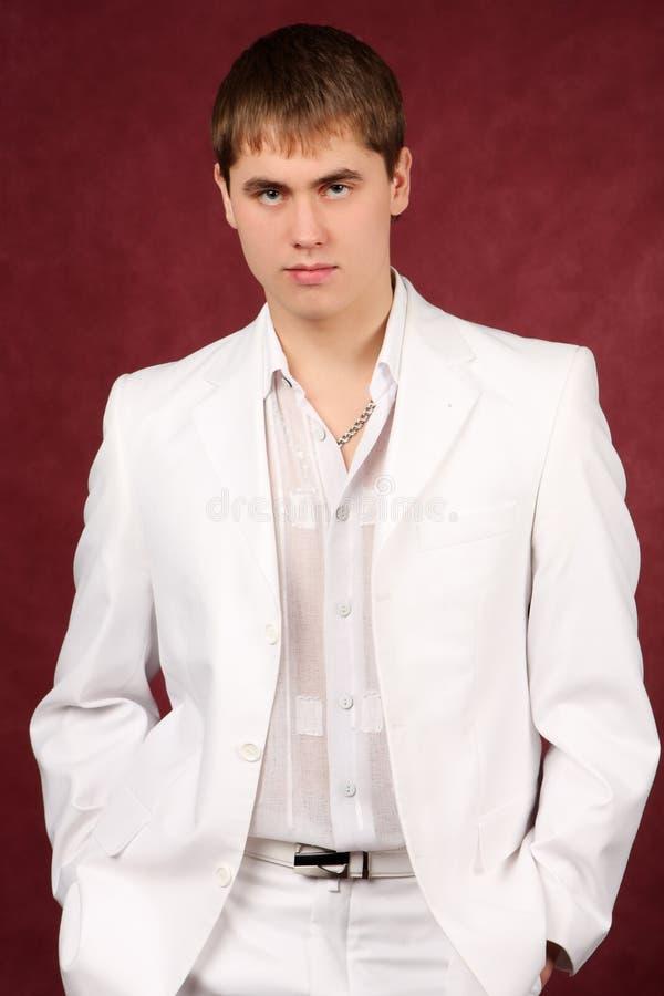 miły faceta portret garniturze white fotografia stock