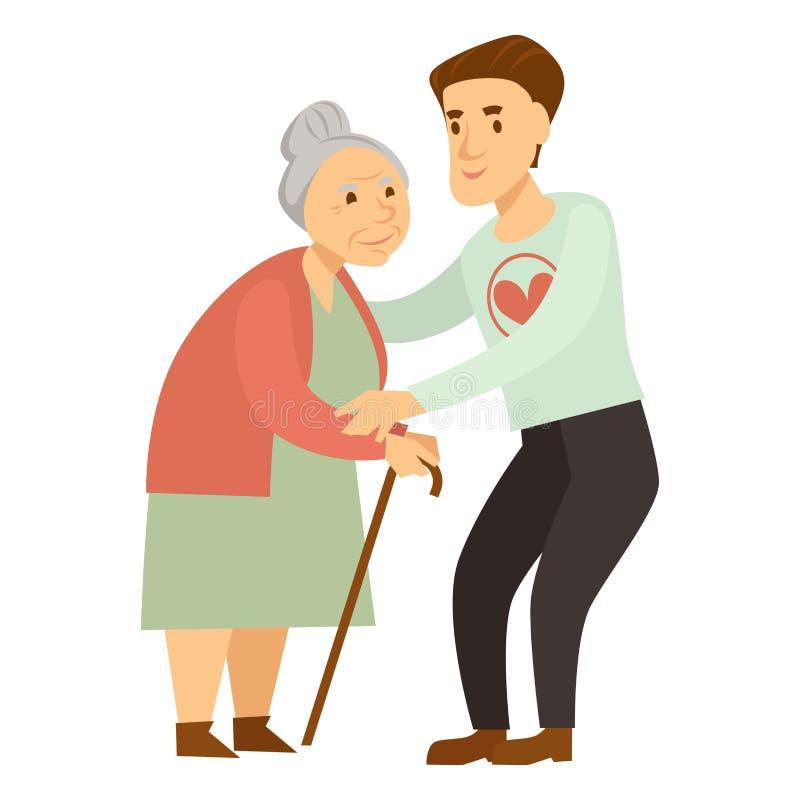 Miły samiec wolontariusz pomaga starej damy z trzciną royalty ilustracja