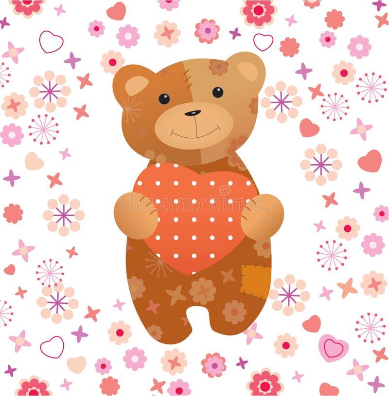 miś pluszowy niedźwiadkowy valentine royalty ilustracja