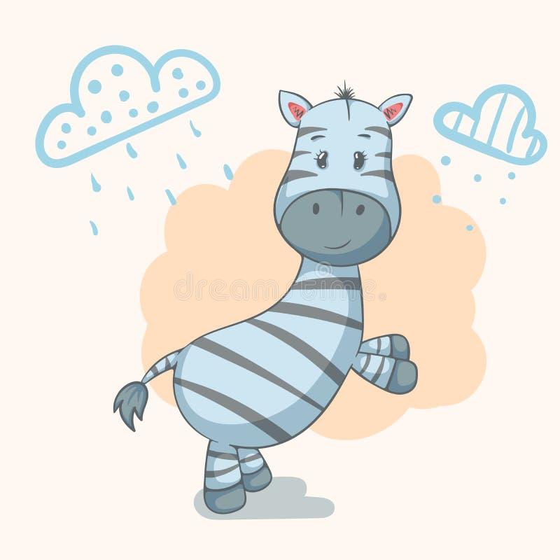 Miś pluszowy zebra - śliczni zwierzęcy charaktery Pomysł dla druk koszulki ilustracja wektor