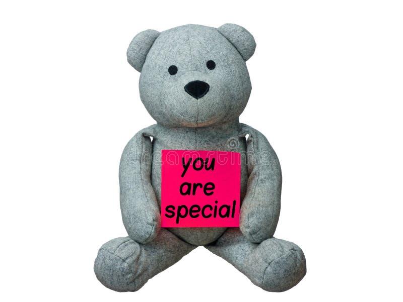Miś ty jesteś speciale wiadomością odizolowywającym obraz stock