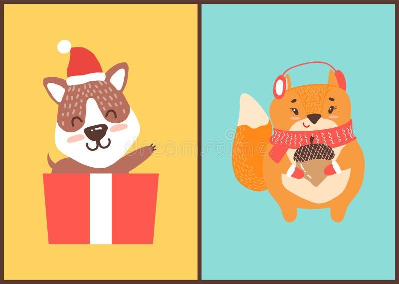 Miś w Święty Mikołaj kapeluszu w prezenta pudełka wiewiórce ilustracji