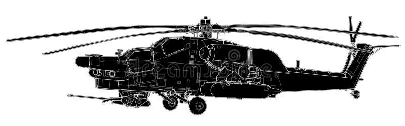 Mi28浩劫军事直升机传染媒介剪影  库存例证