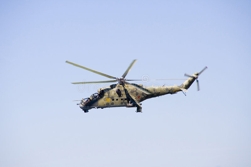 Mi-24 helicopter stock images