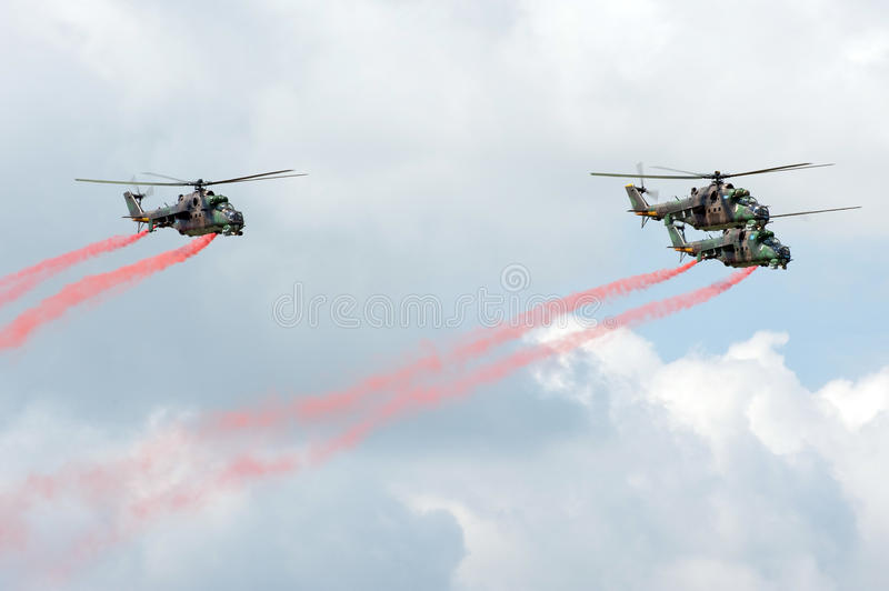 Download Mi-24 helicopters editorial photo. Image of people, blue - 14530431