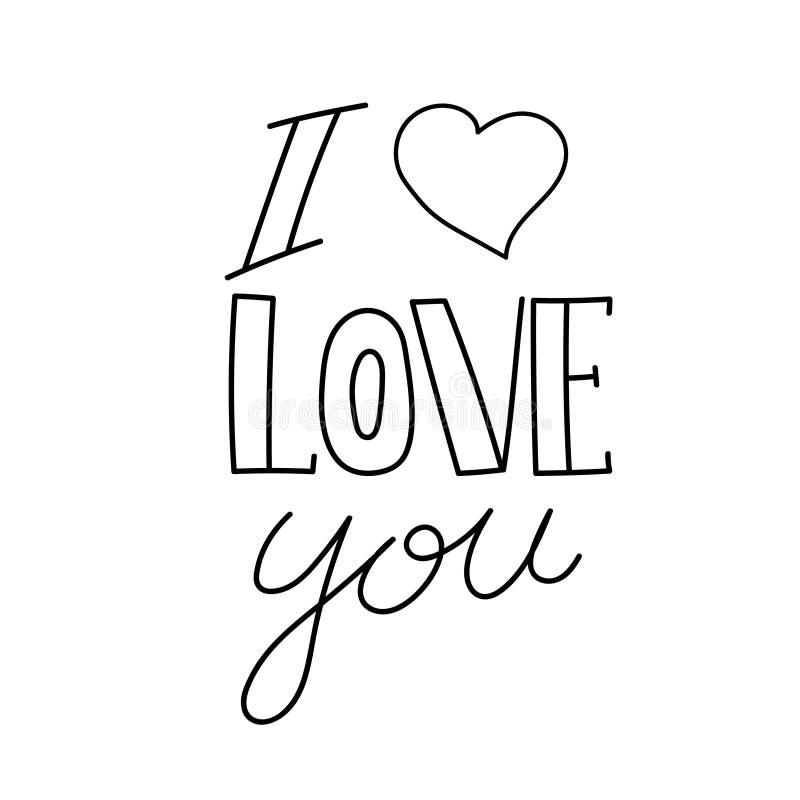 Mi amor Te amo Frase exhausta de la caligrafía de la mano del vector Modelo para la tarjeta de felicitación deletreado Huella dig ilustración del vector