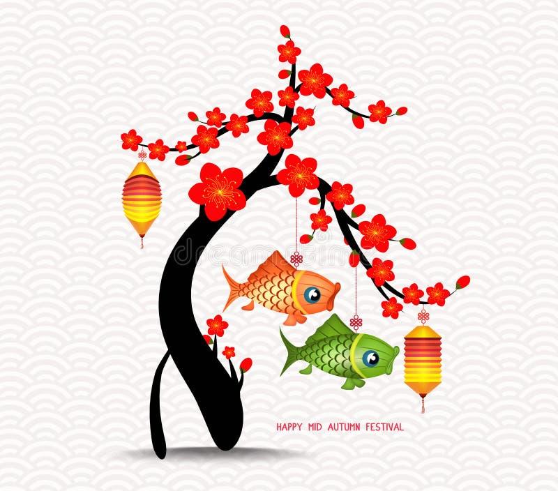 Mi arbre de fleur de festival d'automne et fond de lanternes de carpe illustration de vecteur