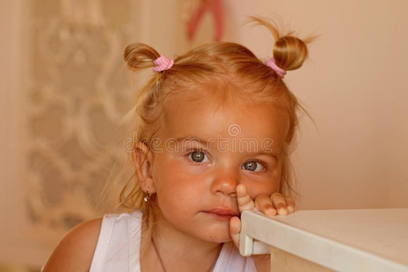 Mi belleza y secretos del pelo Niño adorable con el pelo rubio Pequeña muchacha con las colas de caballo del bollo El pequeño niñ imagen de archivo