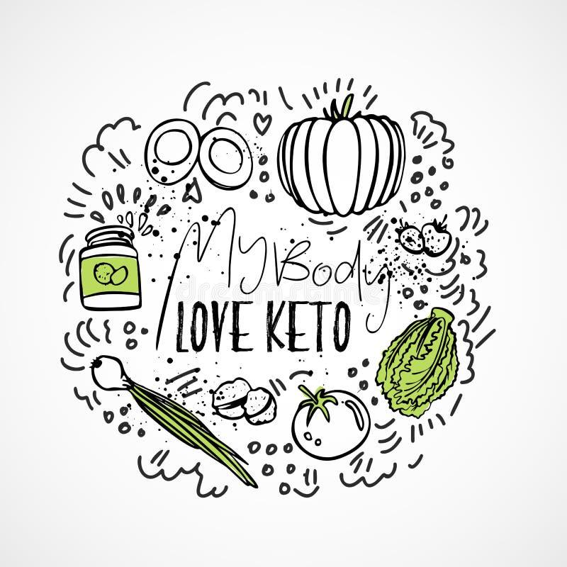 Mi comida del Keto del amor del cuerpo - ejemplo del bosquejo del vector - concepto sano dos-coloreado del bosquejo Comida sana d stock de ilustración
