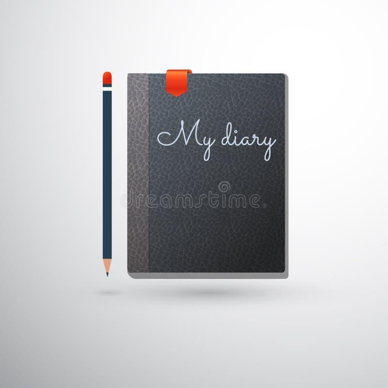 Mi diario con el lápiz y la señal stock de ilustración