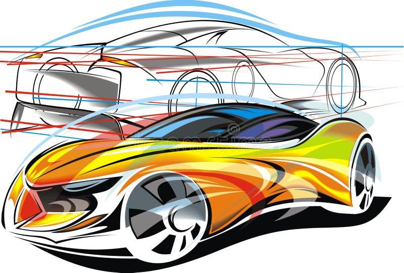 Mi diseño original de los coches deportivos stock de ilustración