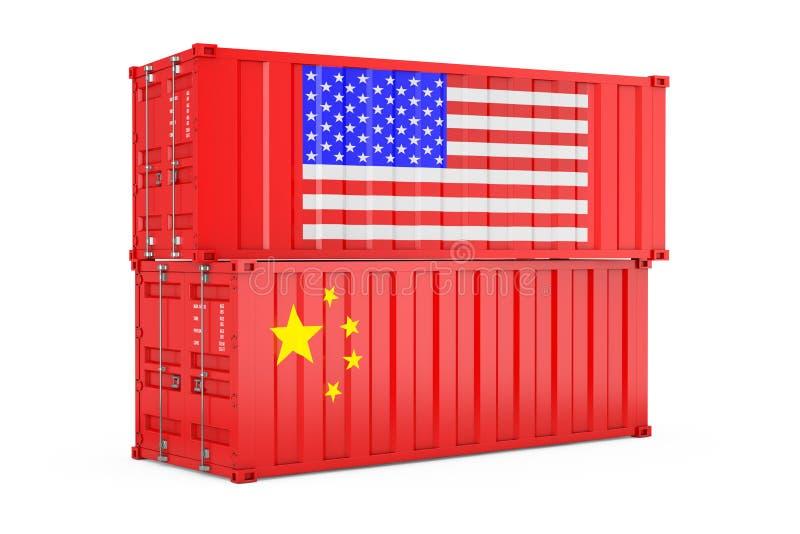 Mi?dzynarodowej wysy?ki poj?cie Ładunków kontenery z usa i Chiny flagą ?wiadczenia 3 d ilustracja wektor