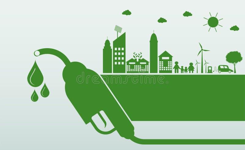 Mi?dzynarodowy biodiesla dzie? 10 Augustfor ekologia i Środowiskowa pomoc świat Z życzliwymi pomysłami, Wektorowa ilustracja ilustracji