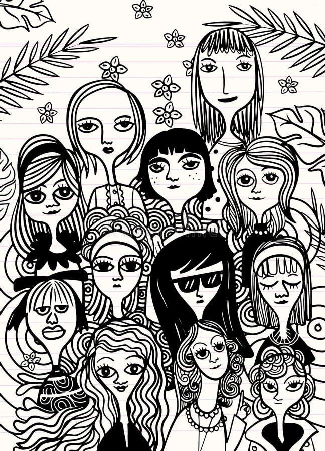Mi?dzynarodowy kobiety ` s dzie? Wektoru wz?r z kobietami stawia czo?o, Wektorowa ilustracja w doodle stylu zdjęcie royalty free