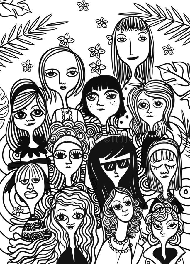 Mi?dzynarodowy kobiety ` s dzie? Wektoru wz?r z kobietami stawia czo?o, Wektorowa ilustracja w doodle stylu obraz royalty free