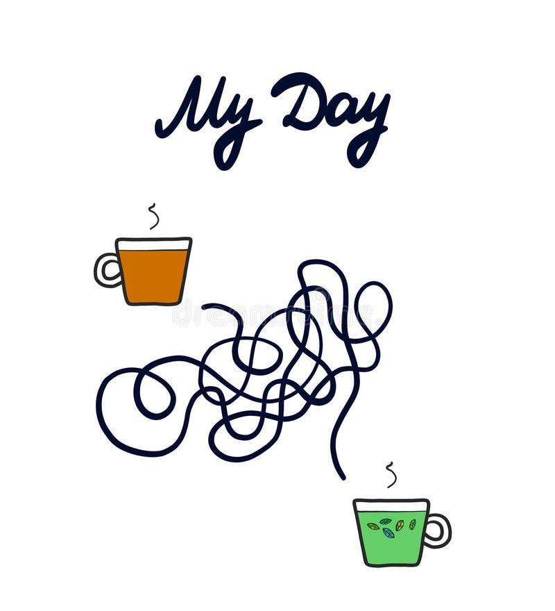 Mi ejemplo exhausto de la mano del día con té del café y de la menta en estilo de la historieta libre illustration