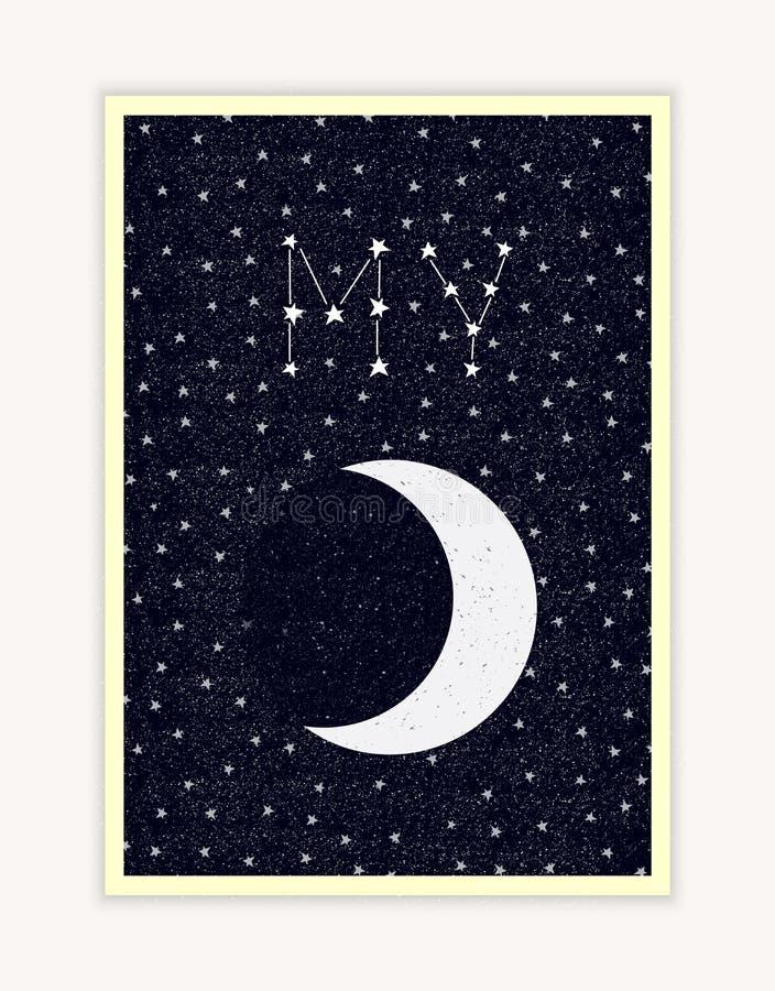 Mi luna, cielo nocturno, letras de la constelación, cartel feliz del día de tarjetas del día de San Valentín imágenes de archivo libres de regalías