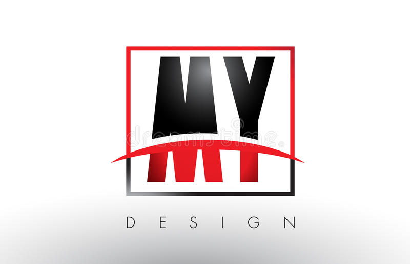MI M Y Logo Letters con colores rojos y negros y Swoosh libre illustration