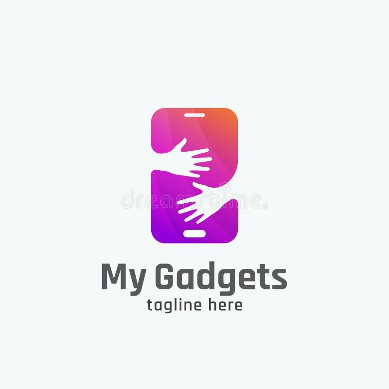 Mi muestra, emblema o Logo Template abstracto del vector de los artilugios Smartphone en concepto de las manos stock de ilustración