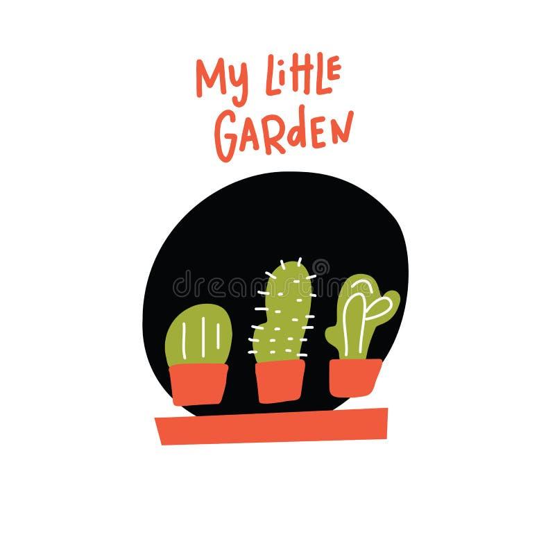 Mi pequeño jardín Ejemplo divertido del garabato del cactus tres en los potes, hecho en vector libre illustration