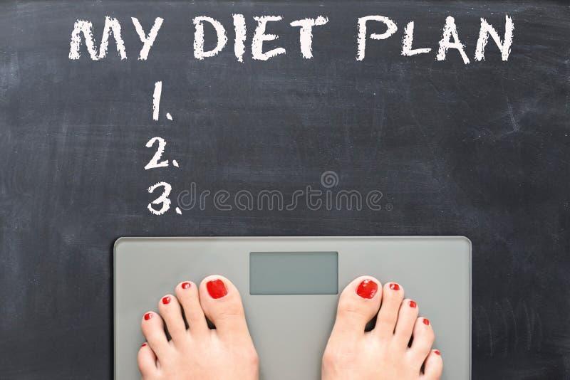 Mi plan de la dieta en la pizarra con los pies de la mujer en una escala del peso imágenes de archivo libres de regalías