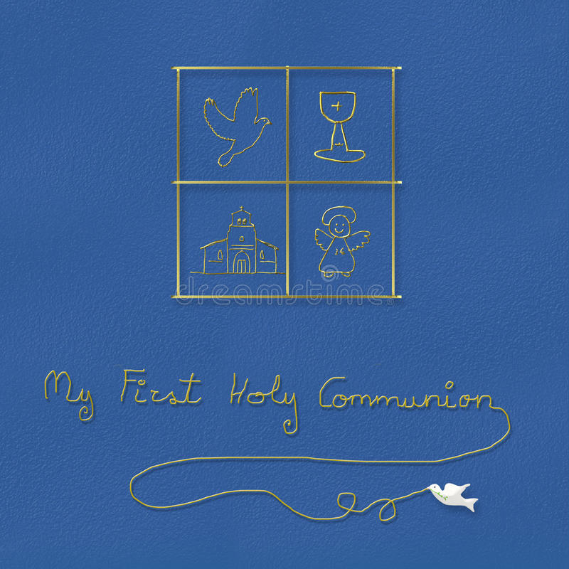 Mi primer fondo del azul de la comunión santa libre illustration