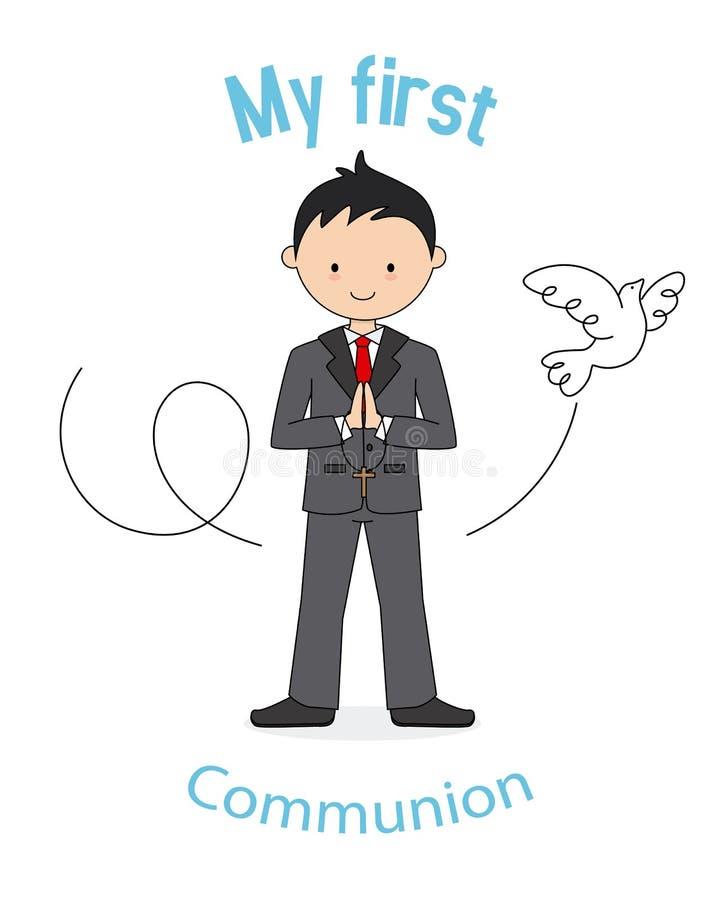 Mi primer muchacho de la comunión stock de ilustración