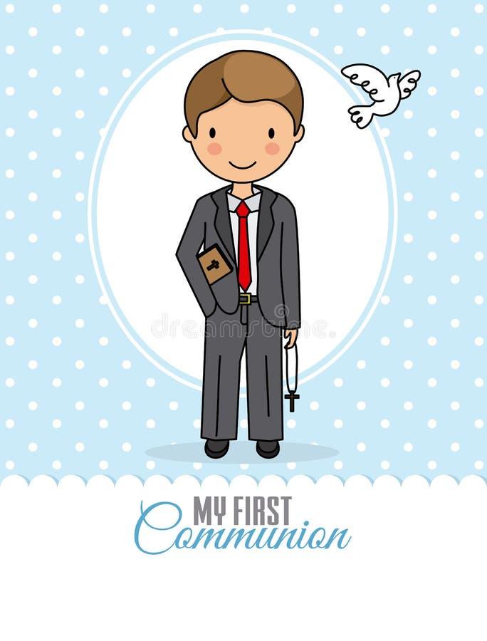 Mi primer muchacho de la comunión ilustración del vector