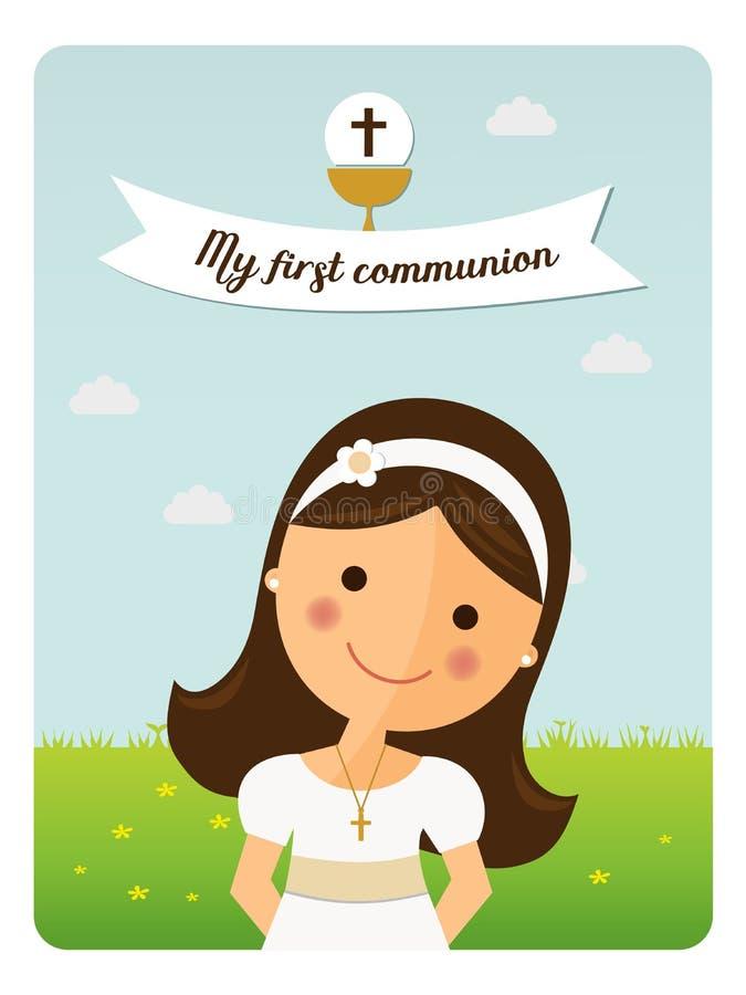 Mi primer recordatorio de la comunión con la muchacha del primero plano stock de ilustración
