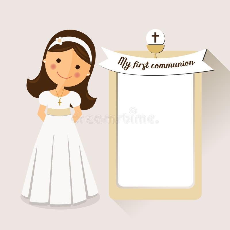 Mi primera comunión de la invitación de la comunión con el mensaje stock de ilustración
