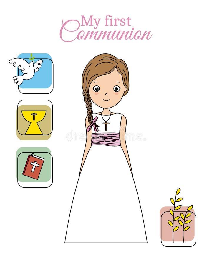 Mi primera muchacha de la comunión stock de ilustración