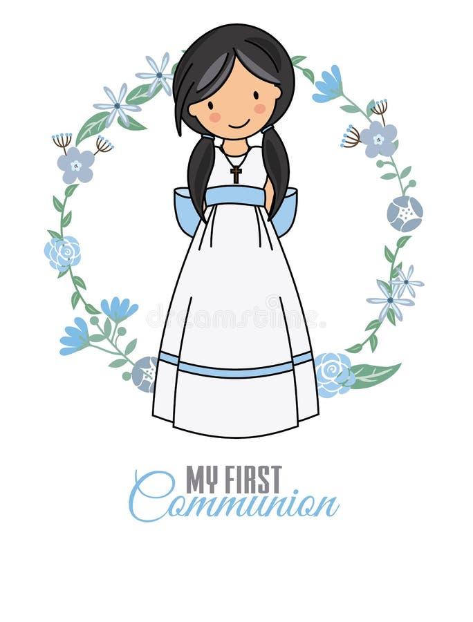Mi primera muchacha de la comunión ilustración del vector