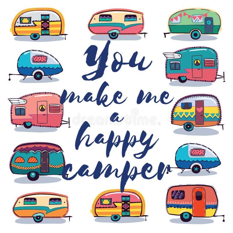 Mi rendete una carta del campeggiatore felice illustrazione vettoriale