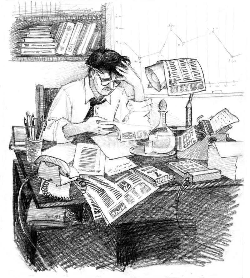 Mi siècle 20 d'homme d'affaires illustration de vecteur