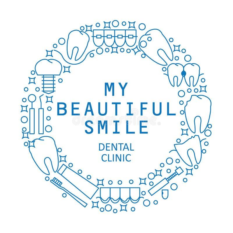 Mi sonrisa hermosa El logotipo o el emblema redondo moderno de la clínica dental Iconos de la enfermedad y del tratamiento de los libre illustration