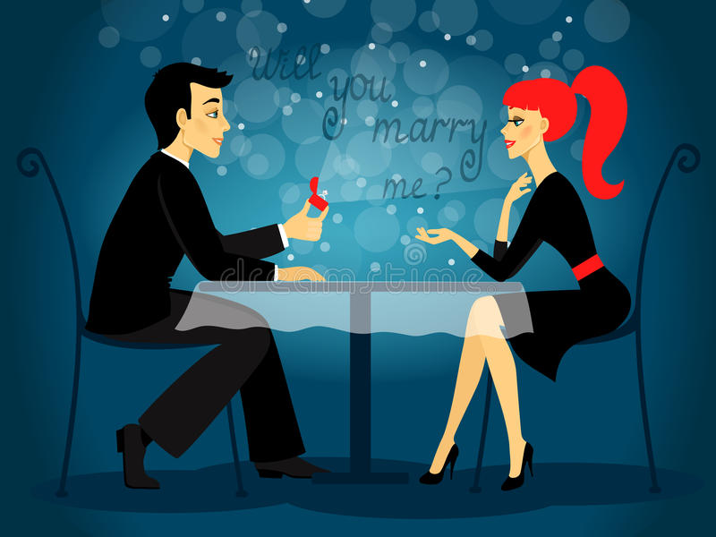 Mi sposerete, proposta di matrimonio illustrazione di stock