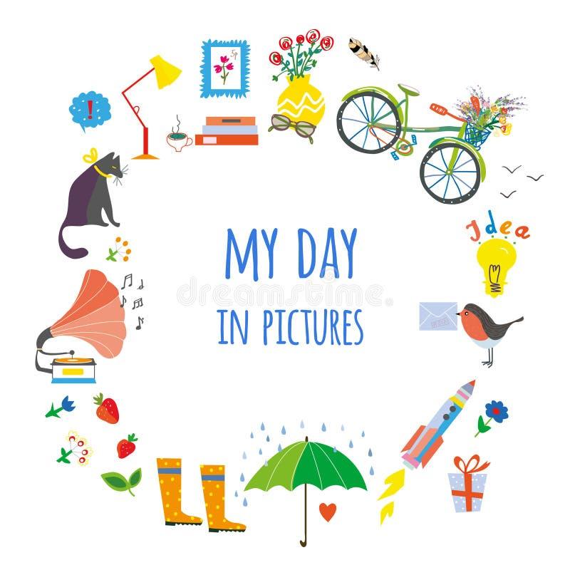 Mi tarjeta del día con los objetos y las decoraciones - concepto para el ejemplo del blog Gráfico de vector libre illustration