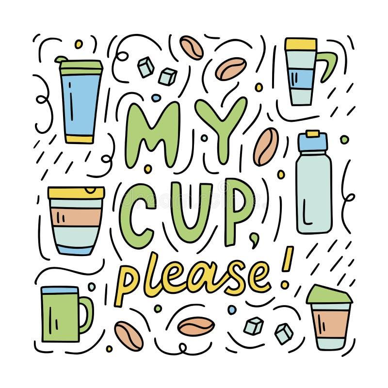 Mi taza garabatea por favor libre illustration