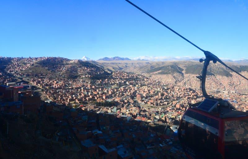 从Mi Teleférico的都市风景 拉巴斯 流星锤 免版税库存照片