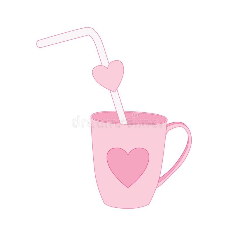 Tube in the heart cup. On pink background  illustration vector royalty free illustration
