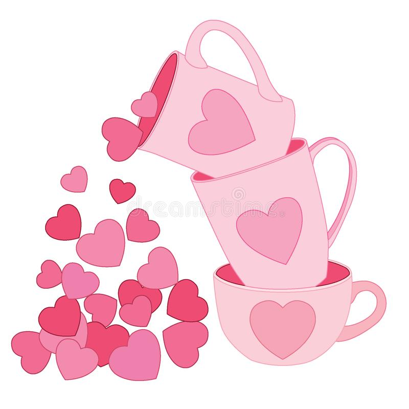 Heart in the cup and Pink cup. On white background  illustration vector vector illustration