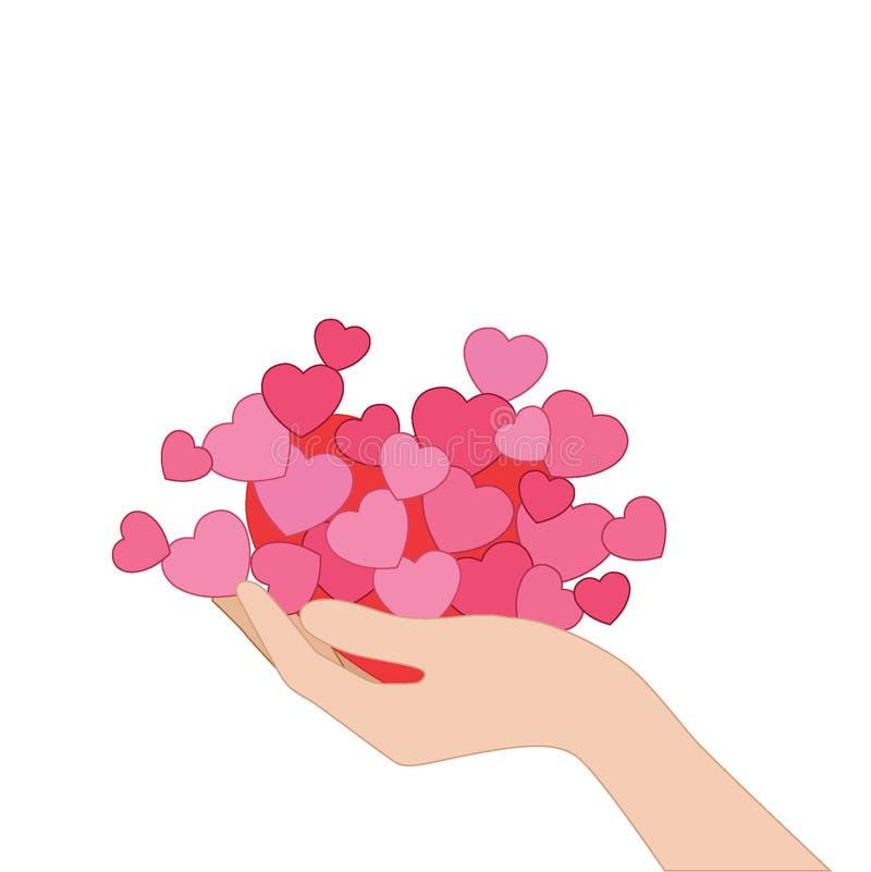 Heart pink in hand. On white background  illustration vector vector illustration