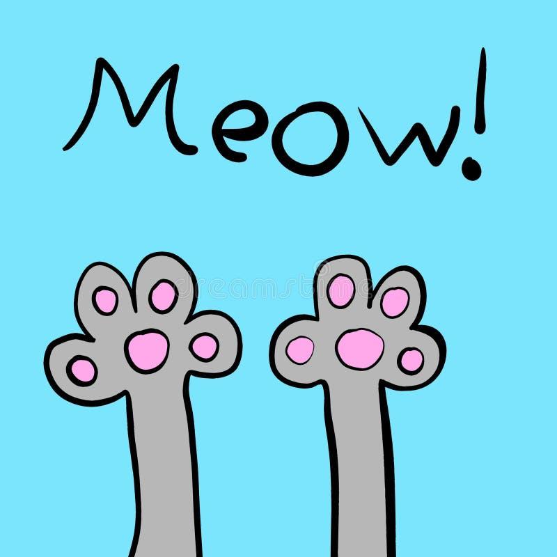 Miado! Cat Paws adorável! ilustração do vetor